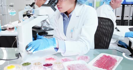 espécime : asian scientist team conduct experiment about food in the laboratory Vídeos