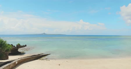 okinawa : beautiful view of beach and sky-location okinawa and japan Stock Footage