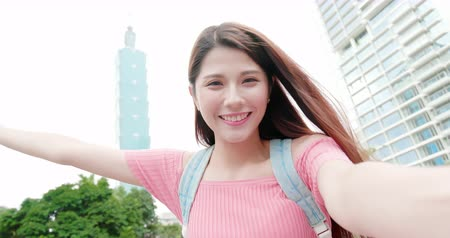 Taipei, Taiwan-NOV 01, 2019: asian woman use smart phone to take selfie outdoor when traveling