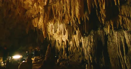 tünel : Okinawa, Japan-Aug 23, 2019: Gyokusendo Cave and rock formations stalactite
