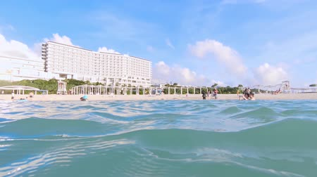 Okinawa, Japan-20 augustus 2019: Ocean Expo Park Beach Stockvideo