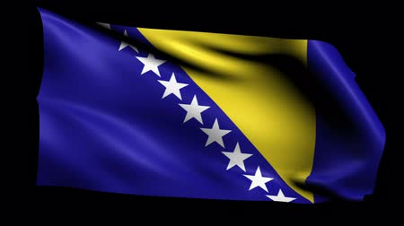bosnia and herzegovina : Bosnia and Herzegovina Flag Loop (Alpha Channel) Stock Footage