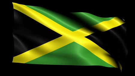 jamaica : Jamaica Flag Loop (Alpha Channel) Stock Footage