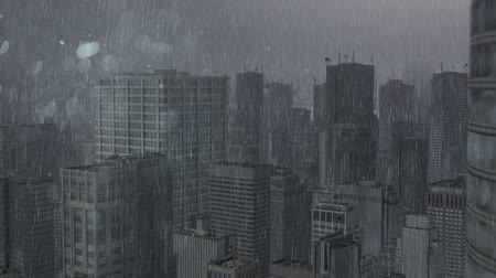 CG image of rain yanth city building Stok Video