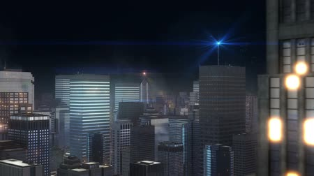 CG image of the city building at night Stok Video