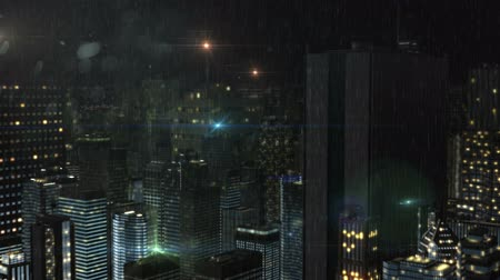 CG image of the city building of the night rain