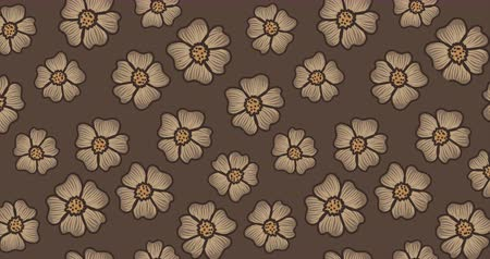 장식 정원 : Rotating brown and beige flowers animated floral background. Nature themed video.
