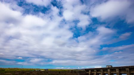 4K Timelapse of beautiful blue sky Spring sky River Sluice Drainage station
