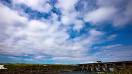 kanto : 4K Timelapse of beautiful blue sky Spring sky River Sluice Drainage station