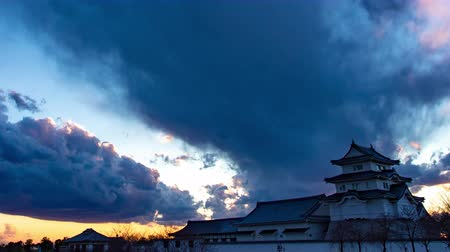 important : 4K Japanese Castle Twilight Timelapse Old Castle Sunset Dusk