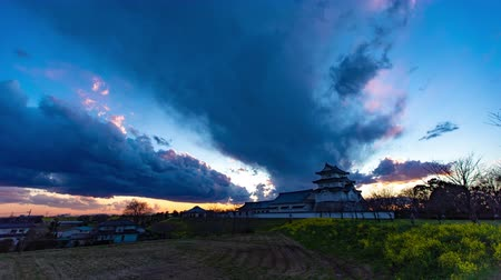 4K Japanese Castle Twilight Timelapse Old Castle Sunset Dusk
