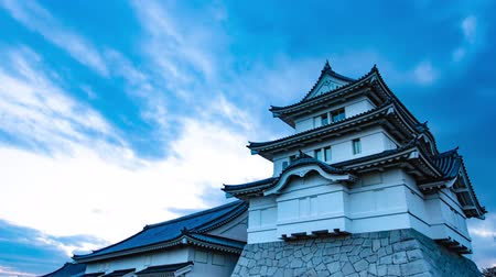 4K Historical Japanese Castle Sunset Sky Timelapse Ancient Castle Sunset