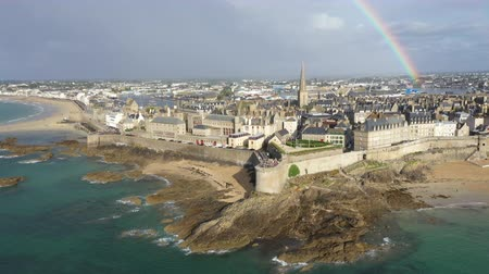 sea port : Aerial view of the beautiful city of Privateers - Saint Malo in Brittany, France Stock Footage