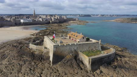 breizh : Aerial view of the beautiful city of Privateers - Saint Malo in Brittany, France Stock Footage