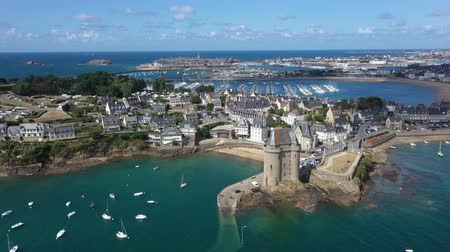 fortificado : Aerial view of Saint Servan and the Solidor tower, Saint Malo in French Brittany, France.