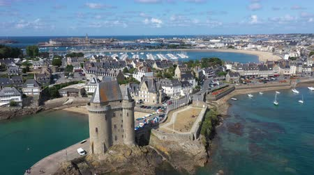 breizh : Aerial view of Saint Servan and the Solidor tower, Saint Malo in French Brittany, France.