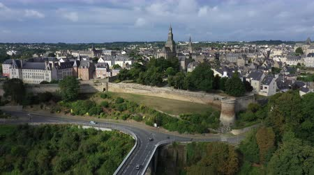 fortresses : Aerial view of the historic town of Dinan in Brittany, France