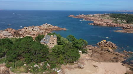 ploumanach : Aerial view of Saint Guirec on the Pink Granite Coast in Brittany, France ,. Stock Footage