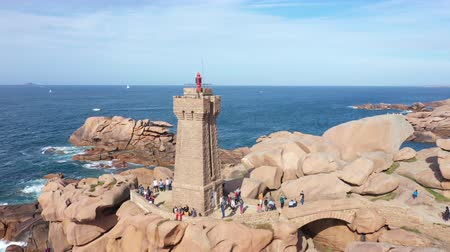 ploumanach : Aerial view of the Pink Granite Coast in northern Brittany on Perros-Guirec, France, with the Ploumanach lighthouse,