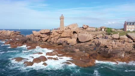 bretagne : Aerial view of the Pink Granite Coast in northern Brittany on Perros-Guirec, France, with the Ploumanach lighthouse,