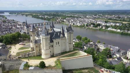 Aerial view of Castle and Loire Valley, France.Saumur Castle was built in the tenth century and rebuilt in the late twelfth century Filmati Stock