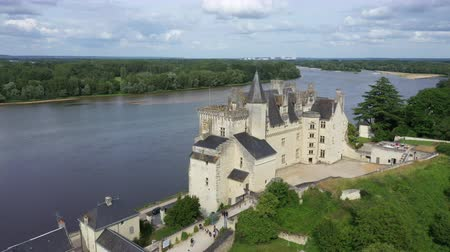 perçin : Aerial view of Castle of Montsoreau at the confluence of the Loire and Vienne rivers. Montsoreau (Labeled The Most Beautiful Villages of France), Maine-et-Loire, Stok Video