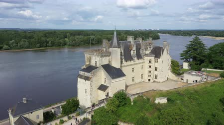 reneszánsz : Aerial view of Castle of Montsoreau at the confluence of the Loire and Vienne rivers. Montsoreau (Labeled The Most Beautiful Villages of France), Maine-et-Loire, Stock mozgókép
