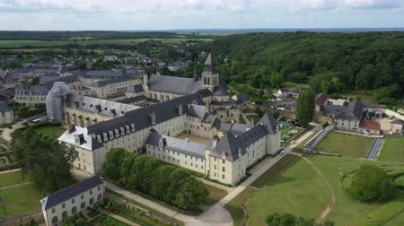 Aerial view of Abbey of Fontevraud, Anjou, Fontevraud Abbey, Maine-et-Loire department, Loire Valley, Loire Valley, UNESCO World Heritage Site, France,