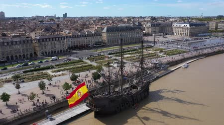 Бордо : Bordeaux, Aerial view of Moon Pier and Stock Exchange Square