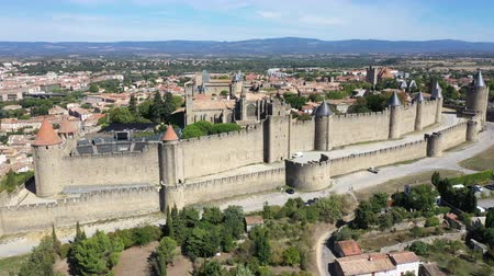 heritage : Aerial view of Carcassonne medieval city and fortress castle from above, Sourthern France