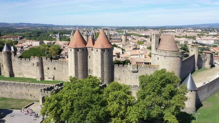 Aerial view of Carcassonne medieval city and fortress castle from above, Sourthern France
