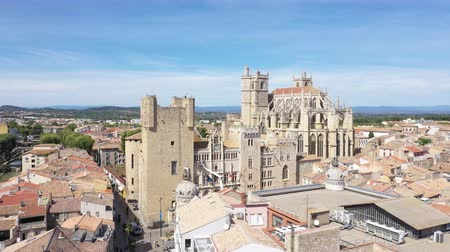 roussillon : Aerial view of Narbonne with Saint Just and Saint Pasteur Cathedral Stock Footage