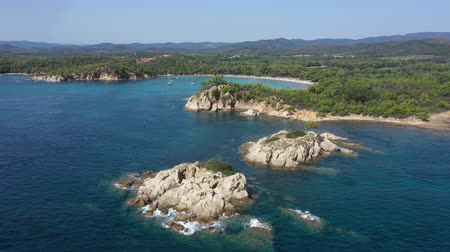 riviera : Aerial view of Cape Leoube and estagnol beach located near Bormes les mimosas in Var department, south of France