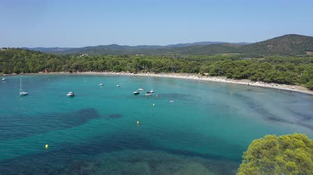 Aerial view of Cape Leoube and estagnol beach located near Bormes les mimosas in Var department, south of France