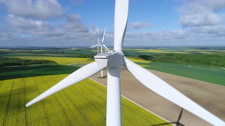 sustainable resources : Aerial view of wind turbine