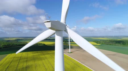 farm equipment : Aerial view of wind turbine