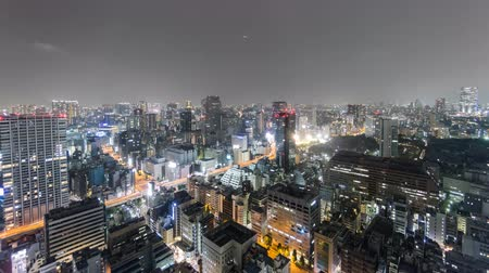 tokio : Night Time-Lapse of downtown in Tokyo, aerial view