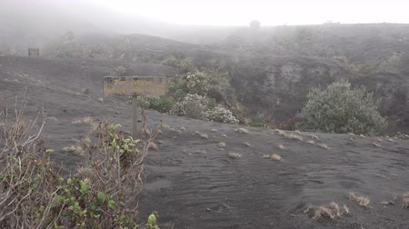 volcanology : Crater of the Irazu volcano with mist in Costa Rica Stock Footage