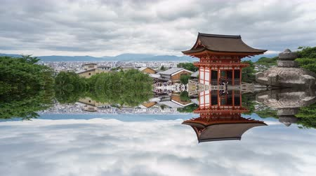 irreal : Time Lapse of Kiyomizu Dera and tourists in Kyoto with mystic reflection
