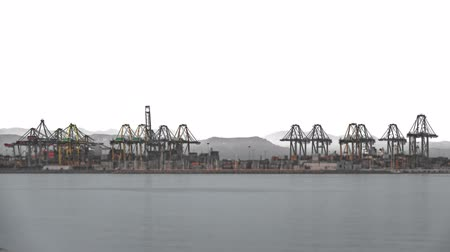 container terminal : Timelapse of port cranes and sea