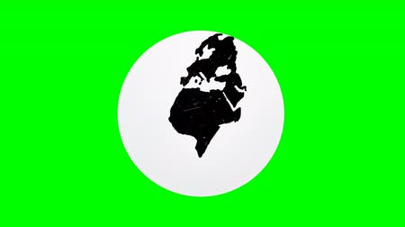 third world : Hand drawing world globe with green background and white circle