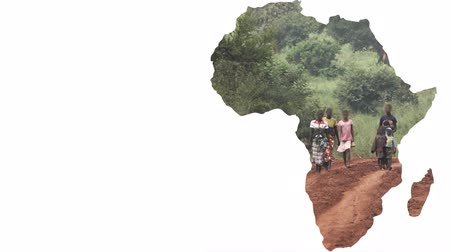 replace : Africa continent shape with blurred people walking