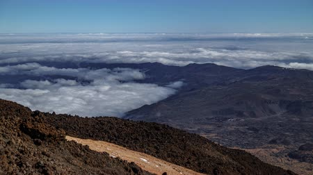 Spectacular view of Teide Observatory over the clouds timelapse, Tenerife, Spain