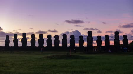 rapa : Ahu tongariki sunrise timelapse with high contrast Stock Footage