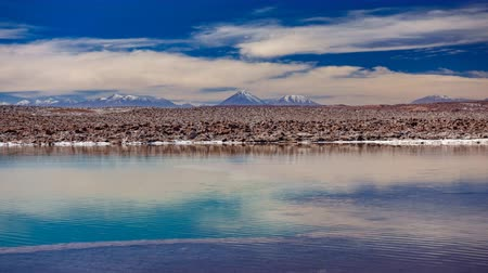 salt lagoon : Baltinache lagoon and Licancabur volcano in the background time lapse Stock Footage