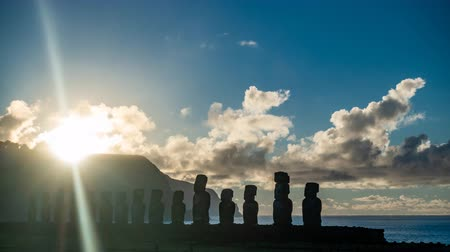 reminder : Spectacular sunrise over Ahu Tongariki Moai silhuettes in Easter Island