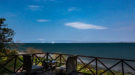 домик : Night time lapse at lake Malawi with cloudy sky