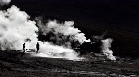 fumarole : Tourists walking in El tatio geyser fumaroles in Chile, Atacama desert