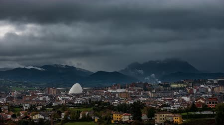 Oviedo city time lapse with storm coming Стоковые видеозаписи