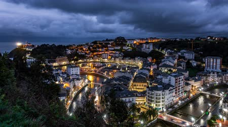 Night falling over Luarca city time lapse